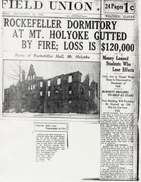 Rockefeller Dormitory At Mount Holyoke Gutted By Fire; Loss Is $120,000