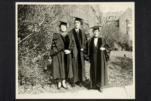 On Founder's Day, honorary degree recipient Arnold Wolfers standing between, l-r, Frances Perkins '02 and President Mary Woolley