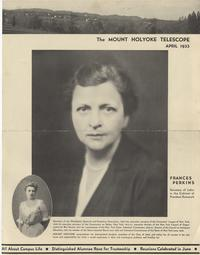 Article in Mount Holyoke College's Telescope publication celebrates Frances Perkins's position as Secretary of Labor, April 1933