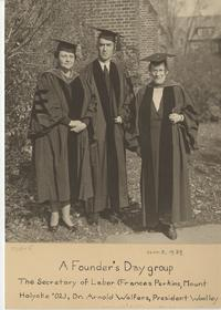 Frances Perkins with Dr. Arnold Wolfers and President Woolley on Founder's Day, November 3, 1934