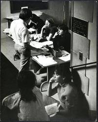 Mount Holyoke students at an information table, participating in nationwide students' strike against the Vietnam War