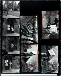 Photographic film contact sheet showing scenes of Mount Holyoke students' participation in nationwide students' strike against the Vietnam War