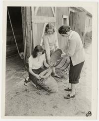 Mount Holyoke students pouring potatoes into a bag
