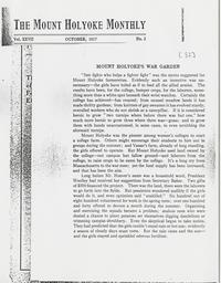 The Mount Holyoke Monthly, Vol. XXXVII, No. 2, October, 1917