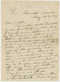Letter from Mary I. Ward to Ruth - August 9, 1923