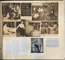 Page from a scrapbook with news items about Mount Holyoke students' volunteer labor on local farms during World War II