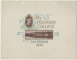 Mt. Holyoke College Calendar 1899, front cover with miniature portrait of Mary Lyon and view across Lower Lake