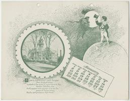 Mt. Holyoke College Calendar 1899, January page picturing Mary Lyon Hall from College Street