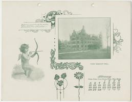 Mt. Holyoke College Calendar 1899, February page picturing Mary Brigham Hall from the northwest