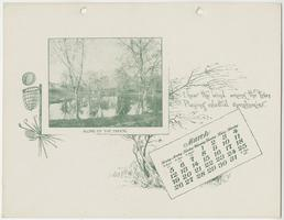 Mt. Holyoke College Calendar 1899, March page with view of Stony Brook, looking toward arched stone bridge in the distance