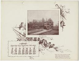 Mt. Holyoke College Calendar 1899, April page picturing Safford Hall from the northwest