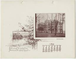 Mt. Holyoke College Calendar 1899, May page picturing Porter Hall from the northwest