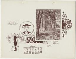 Mt. Holyoke College Calendar 1899, June page with view of path to Lake Nonotuck (Lower Lake)