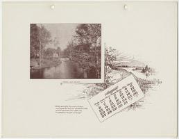 Mt. Holyoke College Calendar 1899, August page with north view of Stony Brook toward Pump House and bridge over waterfall