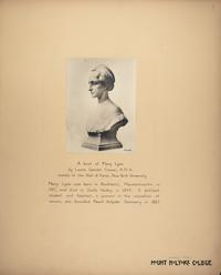 Mount Holyoke View Book, a bust of Mary Lyon