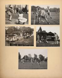 Mount Holyoke View Book, with scenes of students participating in sports on the athletic fields, Upper Lake, and Orchards Golf Course