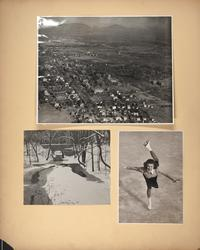 Mount Holyoke View Book, with aerial view of the campus and scenes of Stony Brook in winter and student ice skating