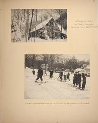 Mount Holyoke View Book, winter scenes of the Outing Club Cabin and students being instructed in skiing
