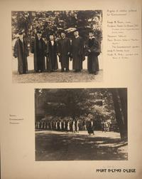 Mount Holyoke View Book, Senior Commencement Procession and President Woolley and other notables gathered for Commencement