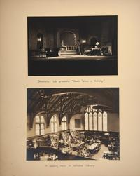 "Mount Holyoke View Book, scene from performance by the Dramatic Club of ""Death Takes a Holiday"" and view of the reading room in Williston Memorial Library"