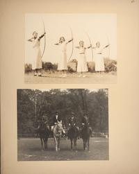 Mount Holyoke View Book, students participating in archery and horseback riding