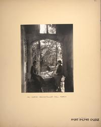 Mount Holyoke View Book, two students on the porch of North Rockefeller Hall