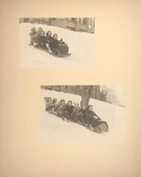 Mount Holyoke View Book, scenes of students tobogganing on campus