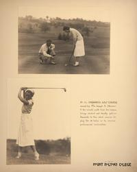 Mount Holyoke View Book, scenes of golfing and receiving professional instruction at the Orchards Golf Course