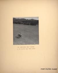 Mount Holyoke View Book, students carrying golf bags on the Orchard Golf Course