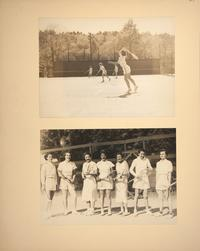 Mount Holyoke View Book, students on the tennis courts