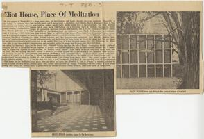 Eliot House, Place Of Meditation, feature from the Holyoke Transcript-Telegram about the construction and opening of Eliot House