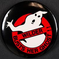Wilder Busts Her Ghost!! button referring to ghost stories about Wilder Hall dormitory