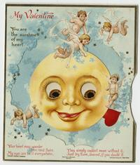 "Mechanical Valentine's Day card belonging to Cornelia Clapp, ""You are the sunshine of my heart"""