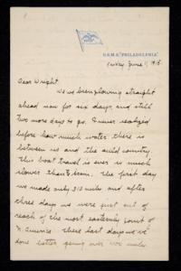 Letter from Charlotte D'Evelyn (Mina) to Wright