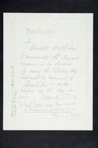 Note from frontispiece of Bible given to Charlotte D'Evelyn by her father, with reference to ceremony memorializing Queen Victoria and honoring Edward VII