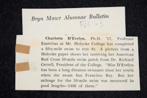"News item from the ""Bryn Mawr Alumnae Bulletin"" about Charlotte D'Evelyn's completion of 50-mile swim"