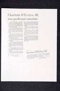 "Photocopy of obituaries for Charlotte D'Evelyn that were published in the ""Springfield Union"" and ""Holyoke Transcript-Telegram"""