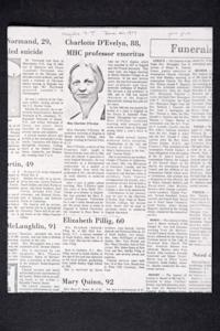"Photocopy of obituary for Charlotte D'Evelyn that was published in the ""Holyoke Transcript-Telegram"""
