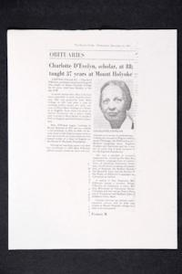 "Photocopy of obituary for Charlotte D'Evelyn that was published in ""The Boston Globe"""