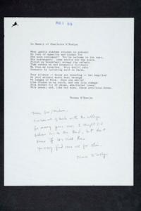 In Memory of Charlotte D'Evelyn, poem by Thomas D'Evelyn sent with note to Mount Holyoke, addressed to English Department professor Benjamin L. Reid