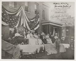 President McKinley's visit to Mount Holyoke College, with entourage on stage