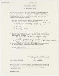 Report form completed by Nancy E. Southmayd, Class of 1960, for the Mount Holyoke College Appointment Bureau