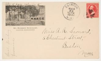 Letter and envelope from Sarah A. Dickey '69 to Miss Anna R. Leonard '69, including an illustration of Mount Hermon Female Seminary