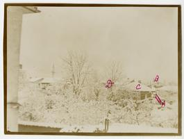 Snow-covered buildings of the American School for Girls in Monastir (Bitola), European Turkey (Macedonia); residence of teacher and missionary, Mary L. Matthews, ex-Class of 1885