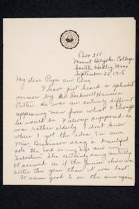 Letter and enclosed receipt from Ruth M. Ferry, Class of 1921, to Papa and Edna