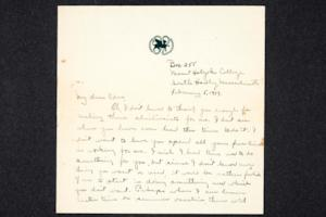 Letter from Ruth M. Ferry, Class of 1921, to Edna