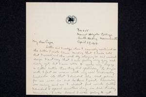 "Letter from Ruth M. Ferry, Class of 1921, to Papa, with an enclosed note from Ruth's friend ""Al"" to Miss Ferry (Ruth's sister Edna)"