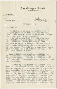 Letter from S. K. Ratcliffe to Edward Murrow with Glasgow Herald letterhead; April 16, 1945
