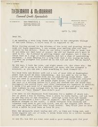 Letter from Al McCarron to Edward Murrow with Tiedemann & McMorran letterhead; April 5, 1945