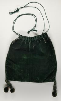 Mary Lyon's green velvet bag used when collecting funds to establish Mount Holyoke Female Seminary, ca. 1837